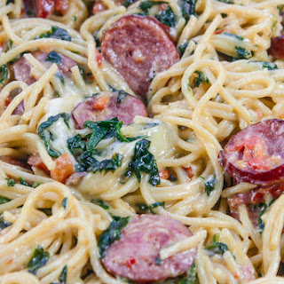 Sausage Spaghetti With White Sauce