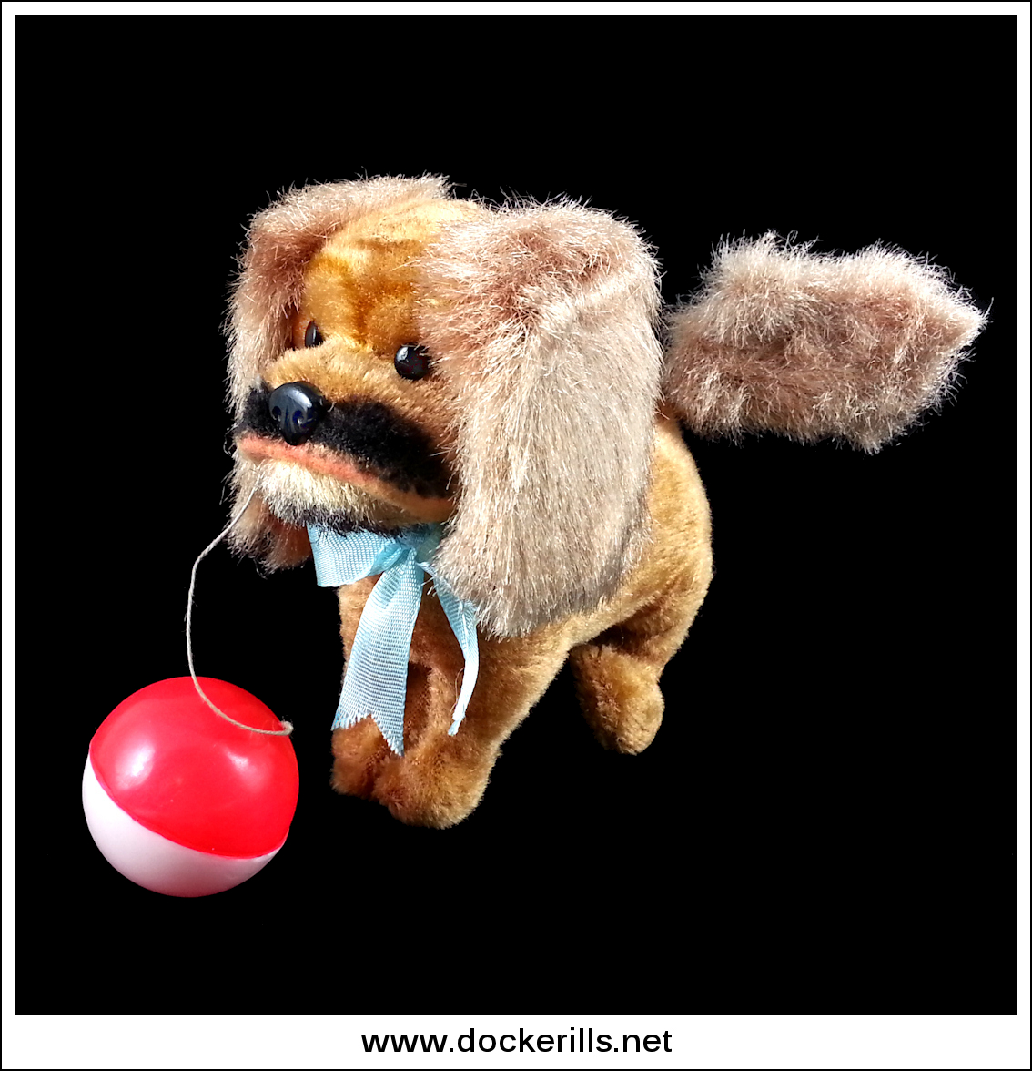 Photo: Alps 'Pekingese Dog', Japan. Clockwork/Plush covered Tinplate. (Picture 2 of 2)  Visit my blog - Collecting Tin Toys at  http://tinplatetoys.blogspot.com/