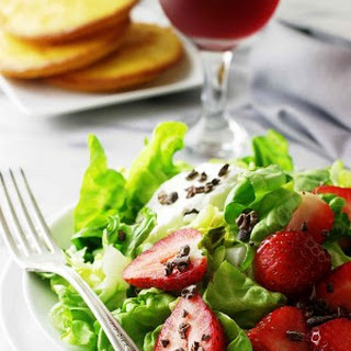 Butter Lettuce, Strawberries and Cocoa Nibs Recipe