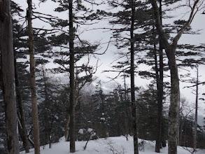 遠くにスキー場が見え始める
