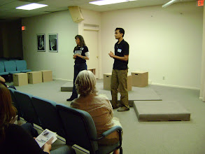 Photo: Barbara and Anshul leading the Q&A session after the play