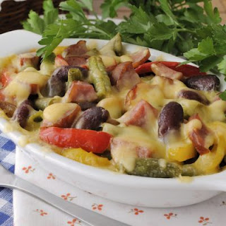 Cheesy Ham And Vegetable Medley Casserole.