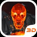 Flaming cráneo 3D Tema icon