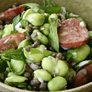 Fava Bean, Lentil and Chorizo Salad