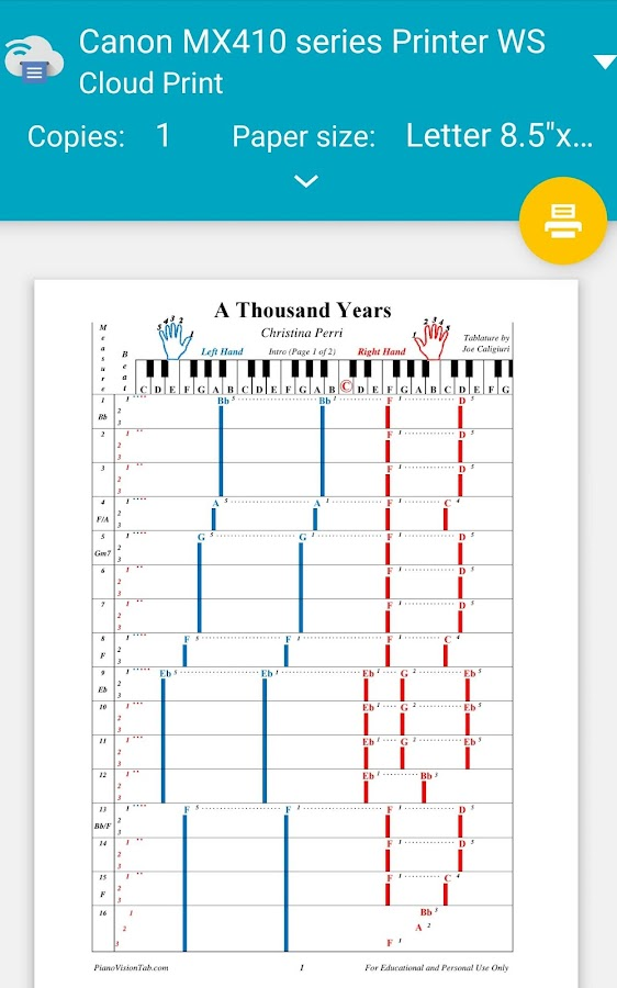 Piano a thousand years sheet music piano free : Piano Tab - Android Apps on Google Play