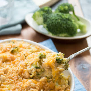 Broccoli Cheddar Chicken and Rice Casserole.