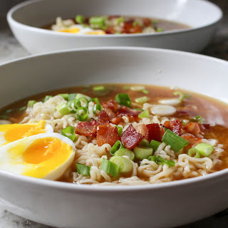 Homemade Ramen with Bacon & Soft-Boiled Eggs.