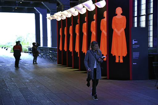 An art installation, designed by Paula Scher and Abbott Miller, celebrating the TV show 'The Handmaid's Tale', which is based on Margaret Atwood's 30-year-old novel.
