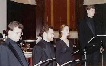Photo: Nov. 1994: Rollins College; Mannerist Mania concert performed for the statewide American Choral Directors Association. Patman Lester, Shawm Bartels, Alice Tillotson, Tom Barnes.