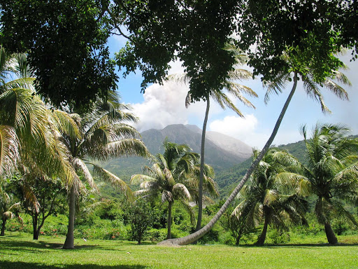 Montserrat-volcano-from-waterworks-estate - The Soufriere Hills Volcano on Montserrat seen from the Waterworks Estate.