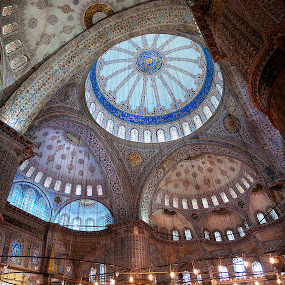 Blue Mosque by Marianna Armata - Buildings & Architecture Architectural Detail ( interior, mosque, rich, pwcdetails, istanbul, marianna armata, worship, tiles, details, blue mosque, blue, decoratieve, turkey, fine, intricate,  )