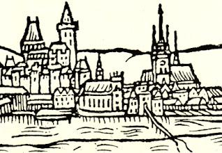 Photo: Nejstarší vyobrazení Přerova od Jana Willenbergera z roku 1593. Pohled z pravého břehu řeky Bečvy na město, v popředí sbor a škola Jednoty bratrské.