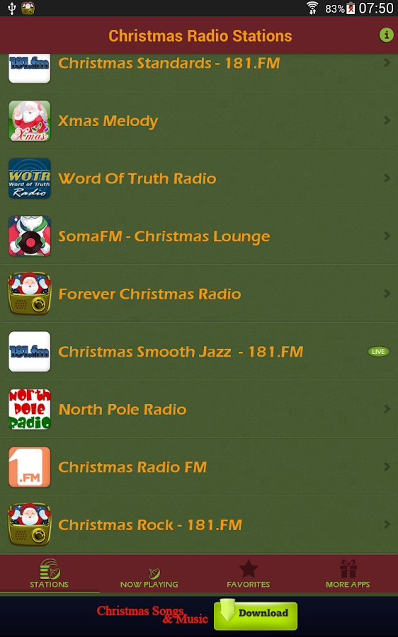 Christmas Radio Stations- screenshot