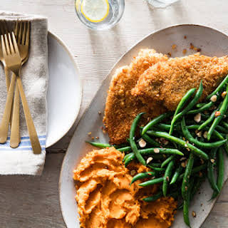 Crispy Chicken with Mashed Sweet Potatoes & Green Beans.
