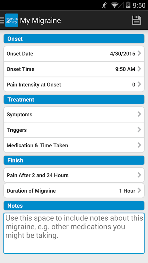 Migraine eDiary- screenshot