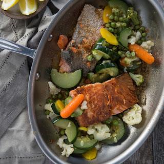 Pan Seared Coconut Oil Salmon & Veggies