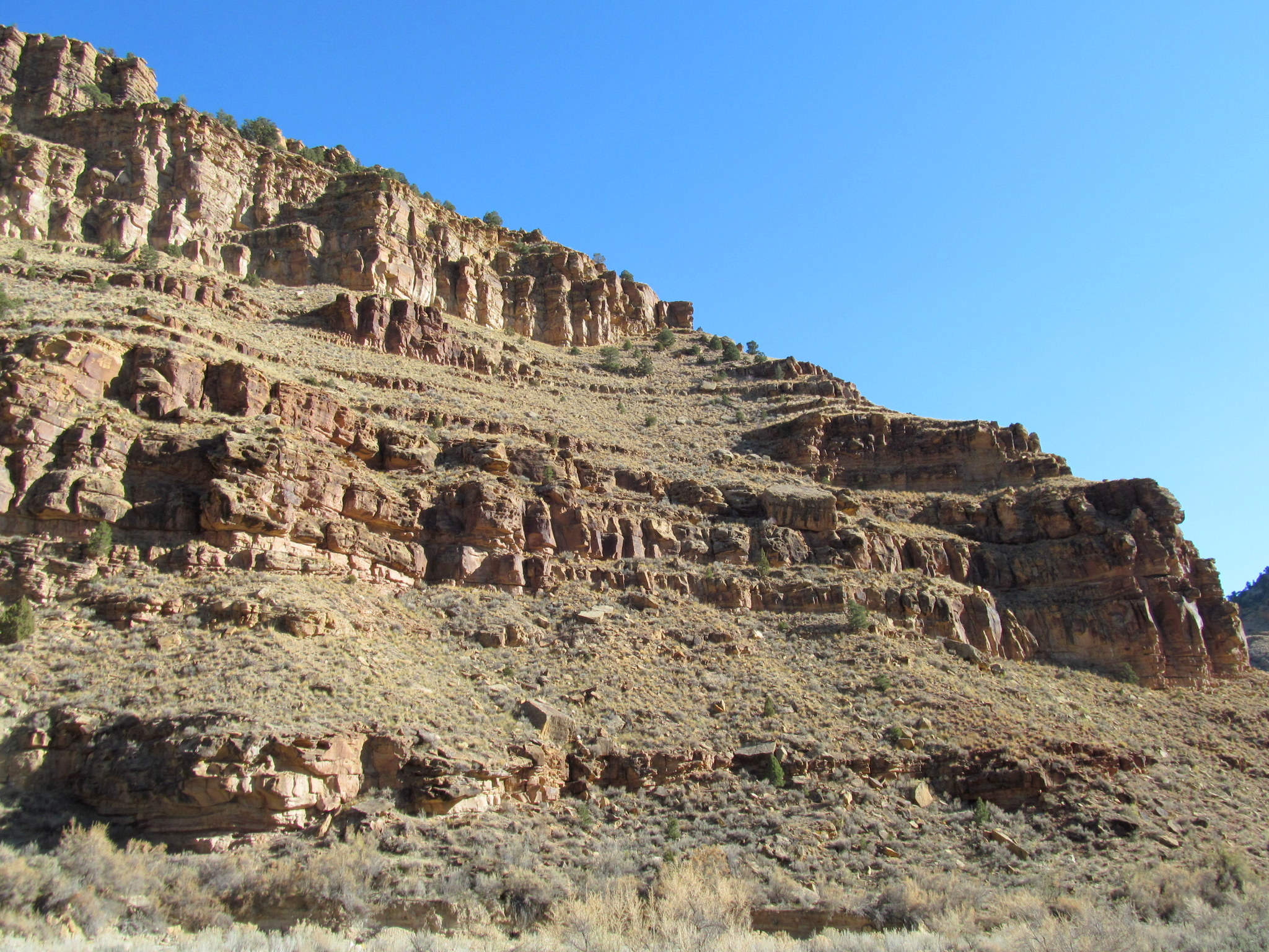 Photo: Part of the route through cliff bands; The Fortress is in the top-left