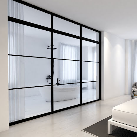 Skjutdörr 2 dörrar + vägg + ovanliggare svart