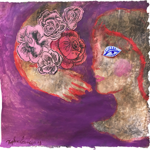 cueillez-des-aujourd-hui-peinture-sophie-lormeau-portrait-figuratif-singulier-art-contemporain-artiste-emergent-artist-french-woman-colorful-singular-expo-parismontmartre-gallery-prple-violet-flower-power-fleur-eye-oeil-visage- sophie-lormeau-