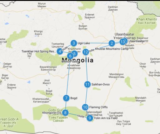 carte découverte de Mongolie