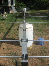 Photo: Antenna ALMOST completed. Outside front and back Phillystran 1200i and new SS Shouldered EYE bolt completed. (Still have to finalize the inside boom-guys.)