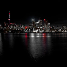 Downtown Toronto (Selective Colour) by Ralph Sobanski - Landscapes Starscapes ( canada, skyscrapers, toronto, buildings, long exposure, night, downtown, lights )