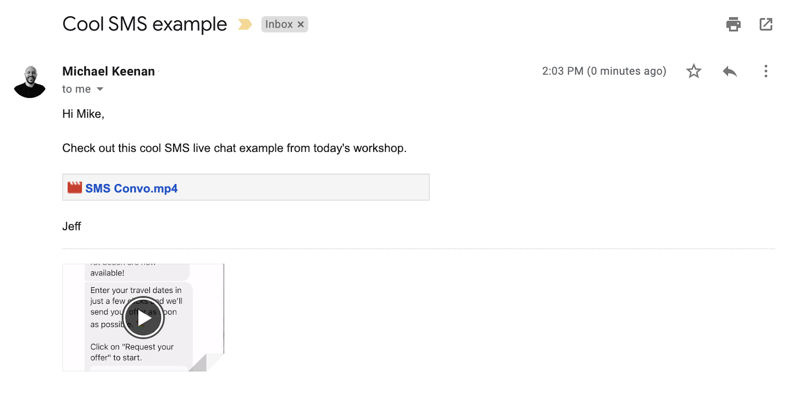 Cool SMS example email sent with video