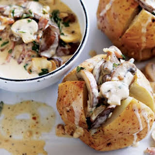 Baked Potatoes with Mushrooms & Bacon Sauce.