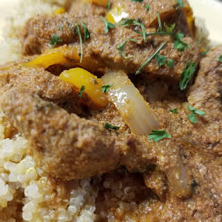 Beef Tips with Sweet Peppers and Onions.