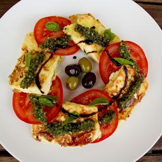 Greek Feta Saganaki Caprese Salad