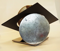 Photo: LUNAR BUTTERFLY -11H X 17W X 14D Found Object (Reclaimed Butterfly Valve Bronze Disc), Stainless Steel, Polished and Painted Mild Steel, Interactive Kinetic, Rear View