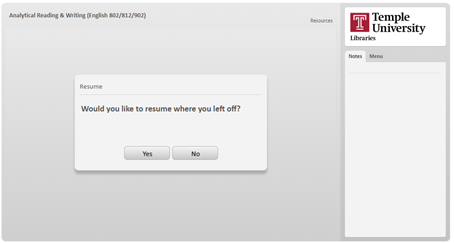 """Prompt from tutorial module asking """"Would you like to resume where you left off?"""""""