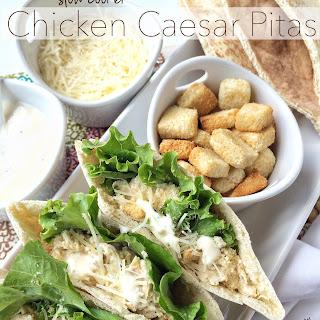 Slow Cooker Chicken Caesar Pitas