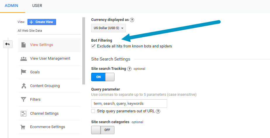 2nd step to filter bot traffic in google analytics reporting