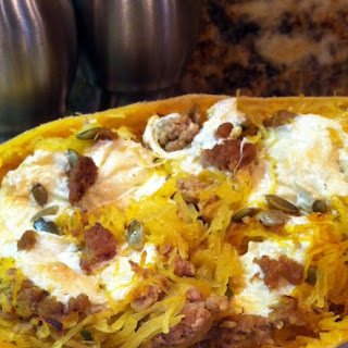 Sage, Turkey and Pumpkin Seed Stuffed Spaghetti Squash
