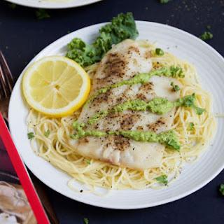 Tilapia with Lemon Linguine and Kale Pesto
