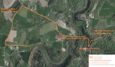 Photo: Trajet piéton via panorama donne uniquement accès au S2 et au bord de rivière.