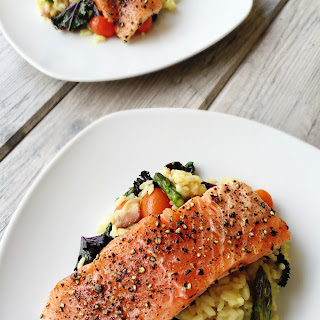 Butter Poached Pepper Crusted King Salmon Over Bacon & Vegetable Risotto