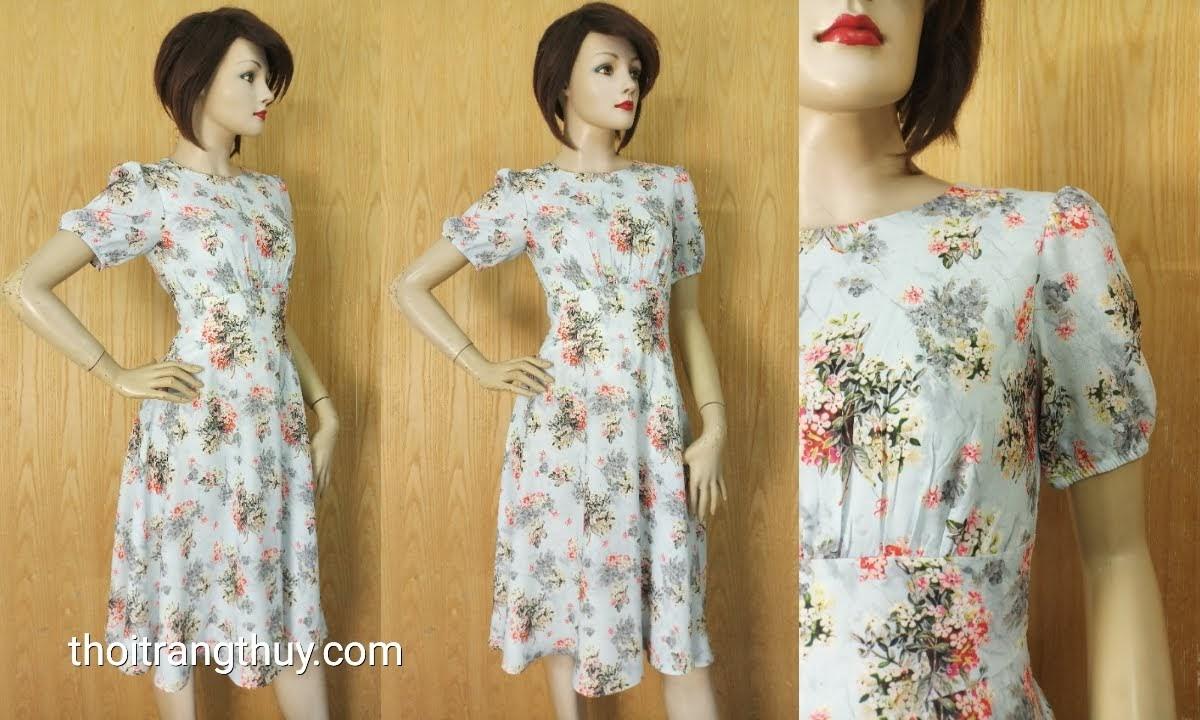 Váy xòe dài qua gối họa tiết hoa dáng công sở V632 Thời Trang Thủy