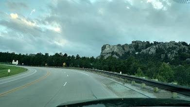 Photo: approaching Mt. Rushmore