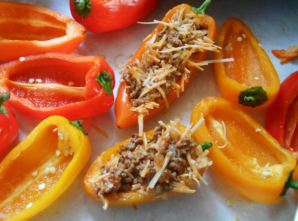 Cut just the top edge off of the peppers long ways, remove seeds. ...