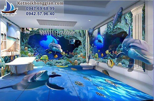 thiết kế phòng tắm sinh động bằng nền và tường 3d