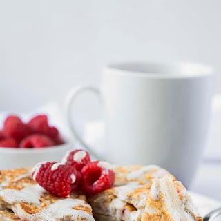 Raspberry Almond Pancakes with Lemon Coconut Sauce (Gluten-Free, Vegan).