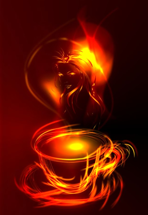 by Svetla Ivanova - Illustration Products & Objects ( red, coffee, digital painting, fire, girl )