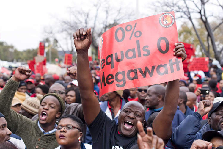 Demonstrators protest outside Megawatt Park, Sunninghill, June 14, 2018, demanding a 15% salary increase.