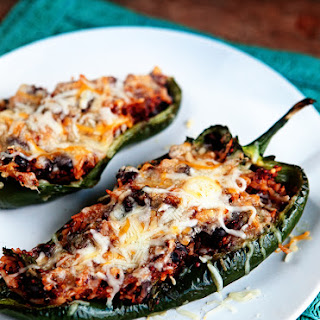 Vegetarian Enchilada Stuffed Poblano Peppers.