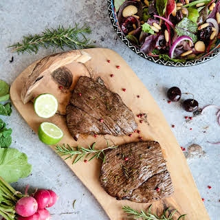 Lamb Leg Steaks in a Herb Marinade.