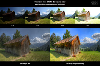 """Photo: HDR Before-and-After: Mountain Shed  This completes my """"Mountain Shed"""" trilogy. You have already seen the image and the """"Pics to play with"""". Here is the Before-and-After comparison. Take a look, and if you like it, grab the """"Pics to play with"""" and try creating your own version (see """"Resources"""" section below). Maybe you have your own vision of this image - go ahead and make it real!  Visit my HDR Cookbook at farbspiel.wordpress.com to learn the techniques I used.  Resources 1. Final image on G+: [ http://bit.ly/qm8bMr ] (see what other people think about it) 2. Flickr photo page: [ http://flic.kr/p/ahLkid ] (lots more behind-the-scenes information) 3. """"Pics to play with"""": [ http://wp.me/pZoHG-uG ] 4. Before-and-After page in my HDR Cookbook: [ http://wp.me/pZoHG-uB ] 5. Many more B&A comparisons: [ http://wp.me/pZoHG-oG ] (Want more of this? Take a look!)"""