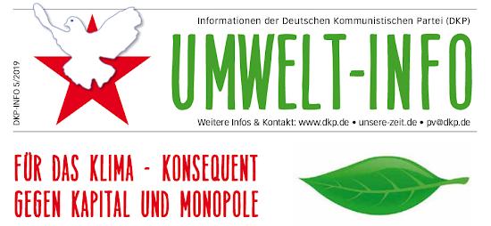 Faksimile: Kopf des Umweltinfos. «Für das Klima - konsequent gegen Kapital und Monopole».