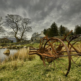 by Becky Wheller - Landscapes Prairies, Meadows & Fields ( farm, mountains, wheel, farmland, lake, landscape )